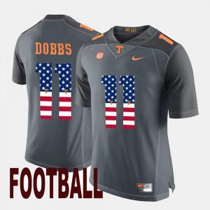 #11 Men's US Flag Fashion Gray Joshua Dobbs UT Jersey 427496-574