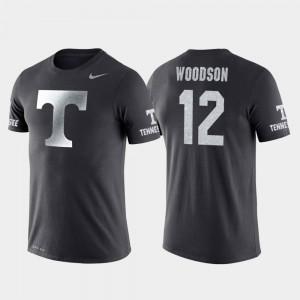 College Basketball Performance Travel Mens #12 Brad Woodson UT T-Shirt Anthracite 174547-669