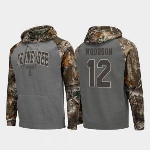 #12 Realtree Camo Brad Woodson UT Hoodie Colosseum Raglan Mens Charcoal 691195-386