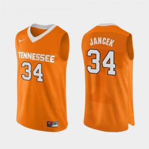 For Men Orange College Basketball Brock Jancek UT Jersey #34 Authentic Performace 448529-663