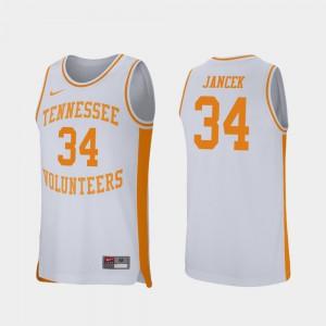 Mens White Brock Jancek UT Jersey Retro Performance #34 College Basketball 136940-881