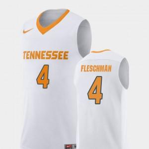 Replica Mens Jacob Fleschman UT Jersey White #4 College Basketball 952453-932