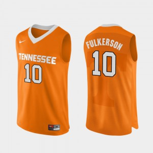 #10 Orange Authentic Performace For Men's College Basketball John Fulkerson UT Jersey 442958-393