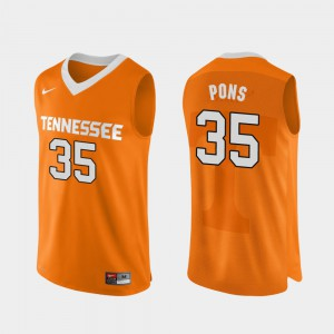 College Basketball Authentic Performace Orange Men Yves Pons UT Jersey #35 309030-330