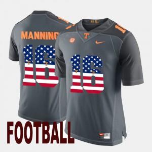 US Flag Fashion #16 Peyton Manning UT Jersey Mens Gray 754863-439
