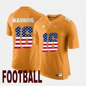 Peyton Manning UT Jersey Orange Men's US Flag Fashion #16 121271-312