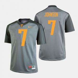 College Football For Men's Gray #7 Brandon Johnson UT Jersey 703078-537