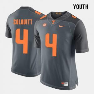 Britton Colquitt UT Jersey Grey Kids College Football #4 539417-791
