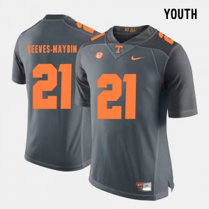 Jalen Reeves-Maybin UT Jersey #21 Grey College Football Youth 897312-114
