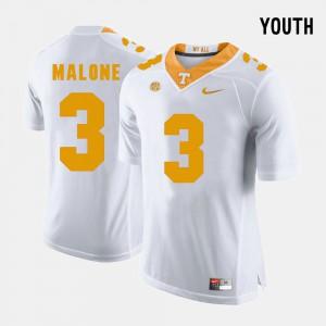 College Football Josh Malone UT Jersey #3 White For Kids 879422-150