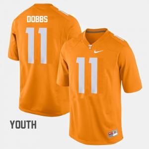 Joshua Dobbs UT Jersey #11 College Football Orange For Kids 111922-144