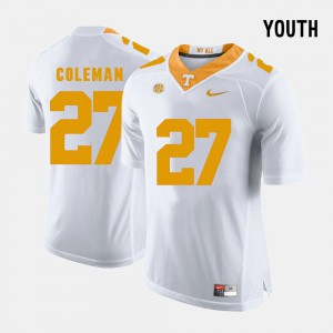 White College Football Justin Coleman UT Jersey #27 Youth(Kids) 159482-442